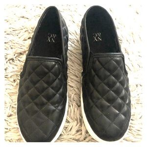 Black Quilted Faux Leather Flats